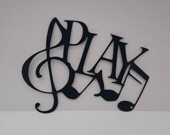 PLAY music notes metal wall art