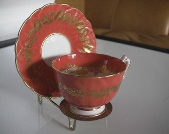 """Vintage English Bone China """"Aynsley"""" cup and saucer with stand"""