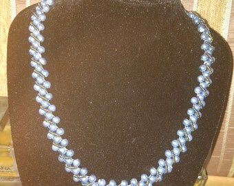charming necklace of blue pearls