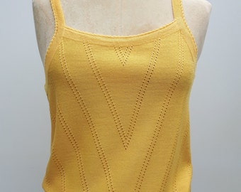70s Knitted Yellow Vest Top