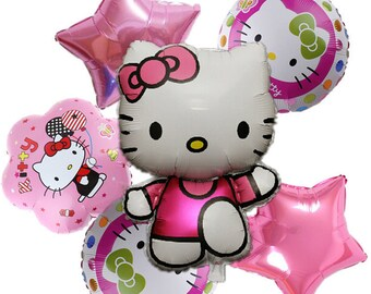 Hello kitty Birthday Party Decorations Air Balls New Arrival 6pcs KT cat Cartoon Foil Balloon Kids 1 Year ClassicToys Supplies