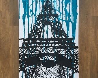 Original mixed media drip painting - 'Eiffel Tower'