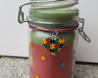 Autism Awareness! Vanilla Scented Candle