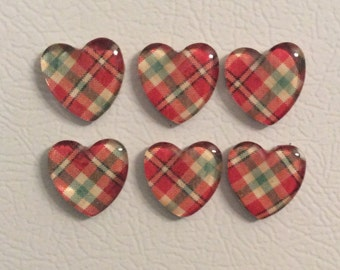 Cute red plaid heart magnet set of 6.