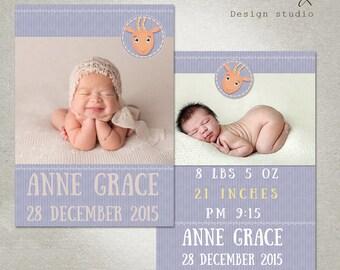 Newborn Baby Announcement PHOTOSHOP TEMPLATE