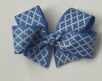 """Handmade Blue Lattice 5"""" Gros Grain Hair Bow"""