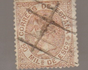 1867 Queen Isabella II Spain Spainish 50 M Postage Stamp Philately Collectible
