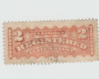 1875-1888 Canada Canadian Registration Stamps Registered Mail 2c 2 Cent Carmine Red Postage Stamp Philately Collectible