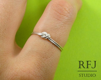 Thin Knot Sterling Silver Ring, Knot Silver Ring, Ring, Stacking Sterling Knot Ring, 925 Silver Rope Ring, Polished Ring, Gift for Friend