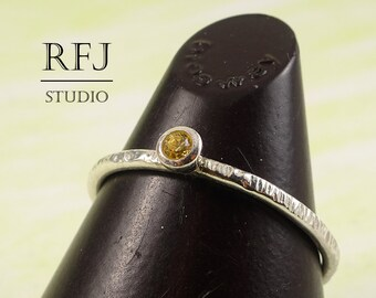 Textured Lab Citrine Silver Ring, Yellow CZ 2 mm Tiny Texture Sterling Ring Simulate Citrine Stackable Hammered Ring Yellow CZ 925 Silver