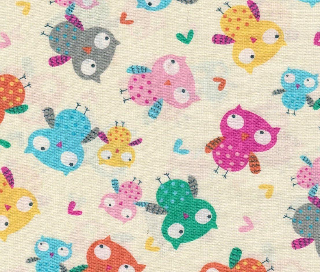 Nursery fabric set owls by timeless treasures c4807 cream for Nursery cotton fabric