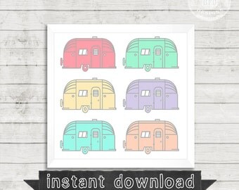 DIY PRINTABLE, Pastel, Airstreams, Vintage Airstream, Printable, Instant Download, Airstreams, Campers, Colorful, Happy, Digital Download