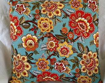 """Beautiful floral throw pillow cover for an 18"""" x 18"""" pillow"""