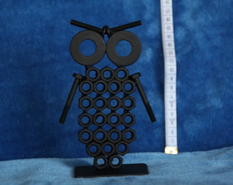 Owl Figurine. Nuts and Bolts Metal Artwork. Owl Statue