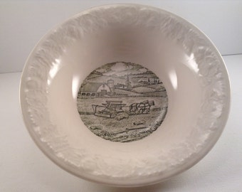 Vintage Pastoral Bowl by Taylor Smith featuring a horse and harvester