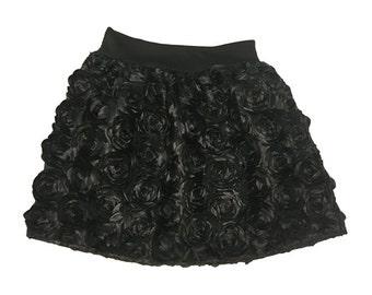 Black Rose Petal Skirt