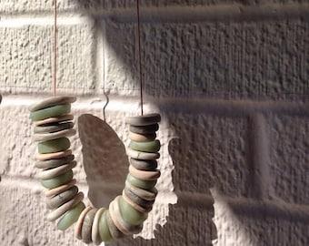 pebbles + stones necklace: sea glass