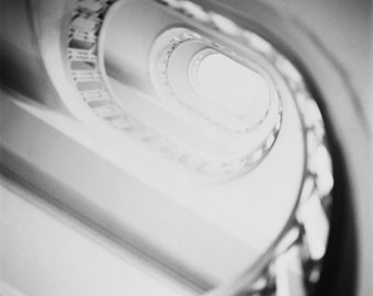 Paris Photography, Fine Art Photography, Architectural Photography, Spiral Stairs, Black and White Photo, Square, Wall Art, Room Decor,