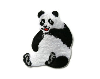 Panda Embroidered Applique Iron on Patch 5.9 cm. x 6.9 cm.