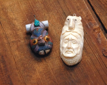 Hand Carved Bone Bead, Navajo Bead, Bear totem