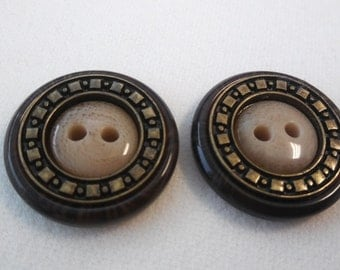 "vintage look, plastic, round, buttons, 1 1/8"" (20 mm) - 2 pcs."