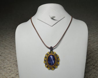 Blue and Yellow Pendant Necklace