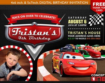 Cars Invitation, Cars Birthday Invitation, Birthday Invitation, Lightning McQueen, Car Party, McQueen