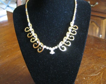 Vintage Sarah Coventry Celestial Fire Gold Tone Rhinestone Necklace, Earrings & Bracelet Set