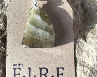 Amegreen (Amethyst + Prasiolite) Wrapped Pendant