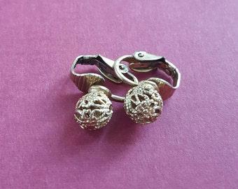 Dainty vintage metal clip on earrings