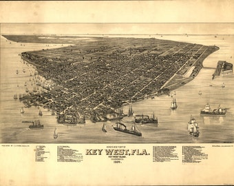 Key West 1884 Historic Panoramic Map