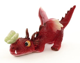 Miniature Fairy Garden and Terrarium Mini Dragon Statue, Red Dragon with Butterfly Gardening Supply