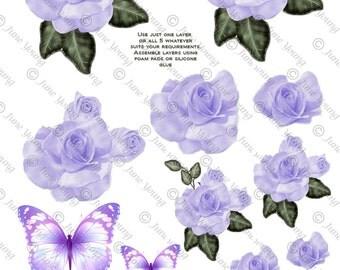 Mauve Roses & Butterflies