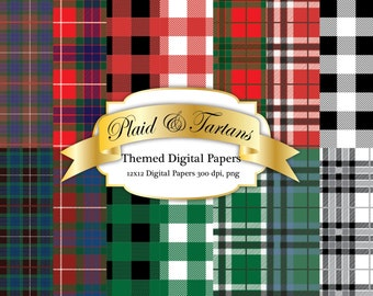 Plaid and Tartan Digital Papers, 12 x 12 300 dpi png