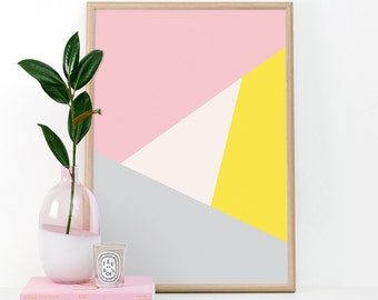 Modern Art Print, Printable Wall Art, Wall Art, Digital Download, Screenprint, Minimal, Geometric, Modern, Triangle, Pink and Gray
