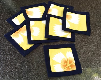 Coasters, Yellow flower, Set of 8