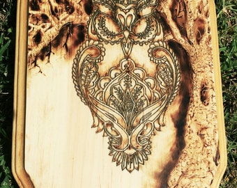 Hand Burned pyrography paisley owl with tree