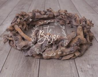 Driftwood wooden nest photography newborn  props