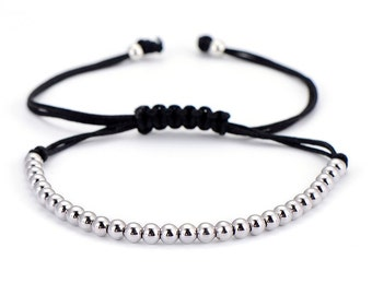 Macrame Silver Micro Bead Bracelet