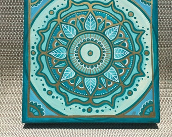 Turquoise and Gold Original Acrylic Mandala