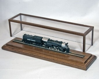 "Solid Walnut 10"" Track N-Scale Model Train Display Case"