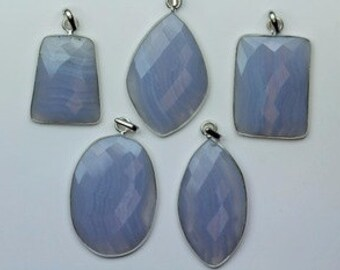 AAA+ quality gemstone 5 PENDANT of Blue Lace Agate 26 -- 36 mm