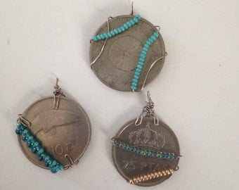 Custom Wire Wrapped Coin Pendants