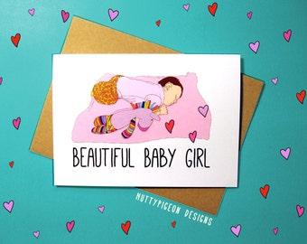 Baby Girl Card, It's a Girl Card, New Baby Card, Beautiful Baby Girl