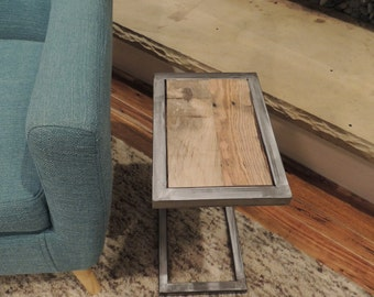 """Reclaimed wood side table- """"The Modern C"""""""