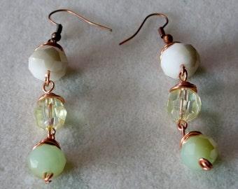 Copper Wrapped Wire Drop Earrings