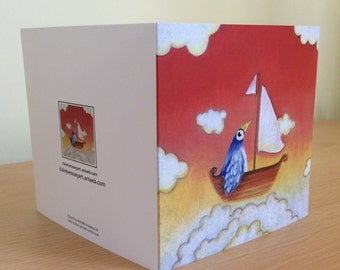 Blank greetings card-Bird in a boat