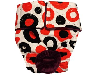 Red and Black Polka Washable Bunny Diaper Rabbit Diaper
