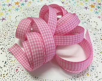 "5/8"" Light Pink Gingham ribbon - 2 yards X 5/8"" (15mm) wide"