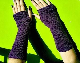 Winter warm purple 100% acrylic yarn vegan armwarmers | Fingerless gloves | Autumn fall fashion gift | Christmas present | women accesoires
